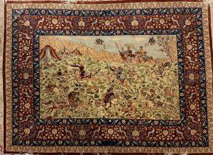 Turkish Hereke Silk rug - Hunting Scene