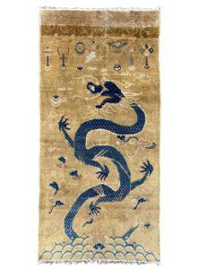antique ningxia dragon pillar rug