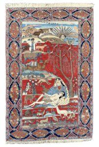 Tabriz, Persian Pictorial rug leyla and mecnun