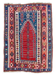 Antique Obruk Prayer Niche Kilim